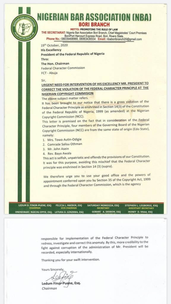 NBA Writes Buhari Over Alleged Violation Of Federal Character Principle At Nigeria Copyright Commission