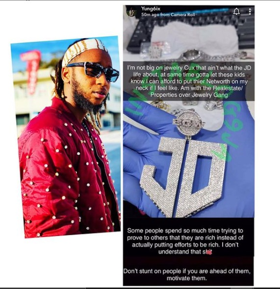 Yung6ix Flaunts His 'JD' Diamond Pendant On Social Media After Much Pressure