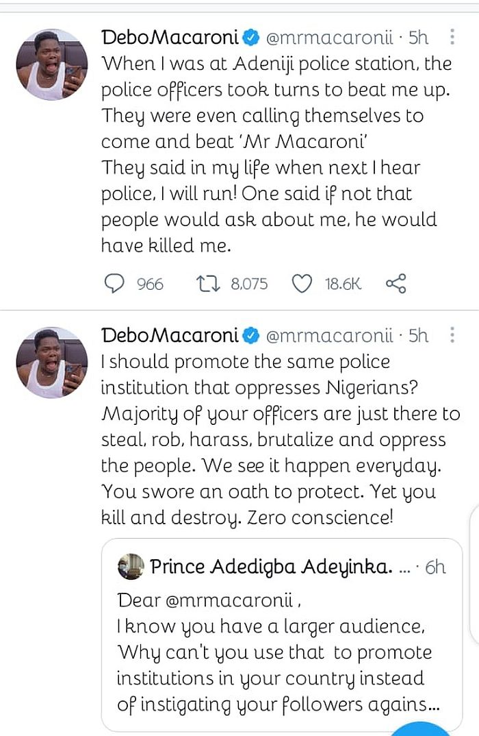 """""""When I Was At The Police Station, The Police Officers Took Turns To Beat Me Up"""" – Mr Macaroni"""